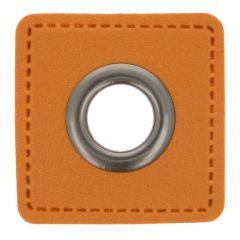 Ösen auf braunem Kunstleder Quadrat 11mm - 50Stk