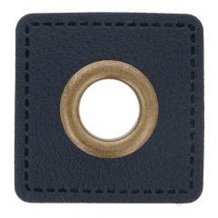 Ösen auf blauem Kunstleder Quadrat 8mm - 50Stk