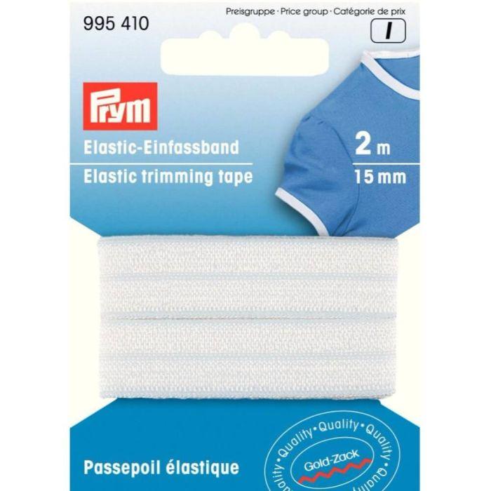 2 m Elastisches Einfassband 15 mm weiss von Prym 995 410