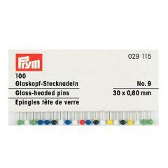 Prym Glaskopfnadeln silberf. 0,60 x 30mm bunt sort. - 10Stk.