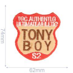 Applikation Tony Boy 62x74mm rot-braun - 5Stk