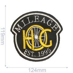 Applikation Milleage 124 x119mm schwarz - 5Stk