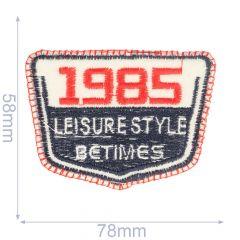 Applikation 1985 78x58mm blau-rot - 5Stk
