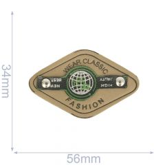 Label Wear Classic Fashion 56x34mm beige-grün - 5Stk