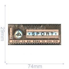 Label Classic Sport 74x29mm braun-rosa - 5Stk