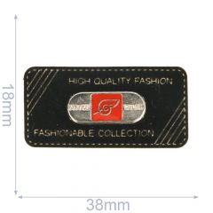 Label Fashionable Collection 38x18mm schwarz - 5Stk