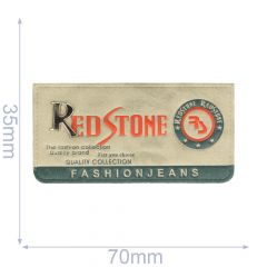 Label Red Stone 70x35mm grau-blau - 5Stk