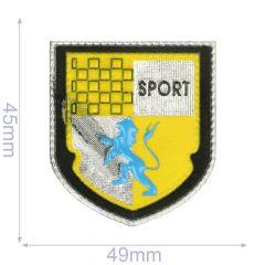 Label Wappen Sport 49x45mm gelb - 5Stk