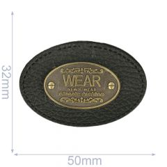Label Oval Wear 50x32mm schwarz - 5Stk