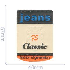 Label Jeans 75 Classic 40x57mm beige-blau - 5Stk
