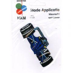 Applikation Rennwagen blau - 5 Stück