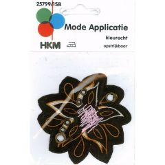 Applikation Blume braun mit orange-rosa - 5 Stück