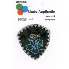 Applikation Blume blau auf Schild - 5 Stück