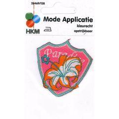 Applikation PARADISE Blume auf Wappen - 5 Stück