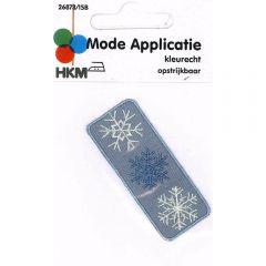 Applikation Schneeflocken grau - 5 Stück
