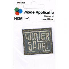 Applikation Winter Sport grau/schwarz - 5 Stück