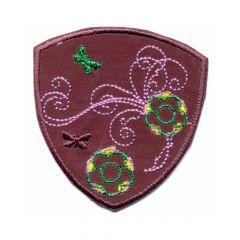 Applikation Blume auf Wappen - 5 Stück