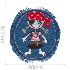Iron-on patch pirate with hat - 5pcs