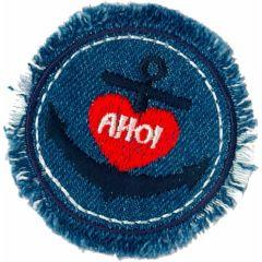 Applikation AHOI in Kreis Jeansblau - 5 Stück