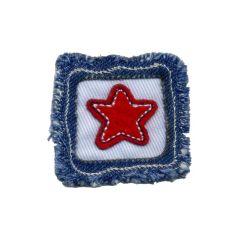Applikation roter Stern auf Viereck - 5 Stück