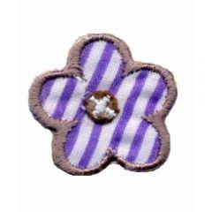 Applikation Blume lila-weiß gestreift - 5 Stück