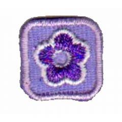 Applikation Blume lila in kleinem Viereck - 5 Stück