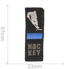 Applikation Hockey mit blauem/rotem Balken - 5 Stück
