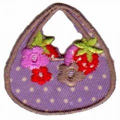 Applikation Handtasche mit Blumen - 5 Stück