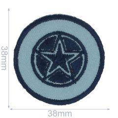 Applikation Stern in blauem Kreis - 5 Stück