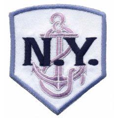 Applikation N.Y. weiß-lila - 5 Stück