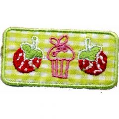 Applikation Erdbeer-Muffin - Erdbeere - 5 Stück