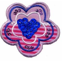 Applikation Blume mit blauen Pailletten - 5 Stück