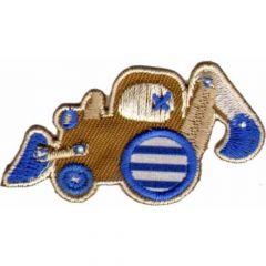 Applikation Bulldozer braun-blau - 5 Stück