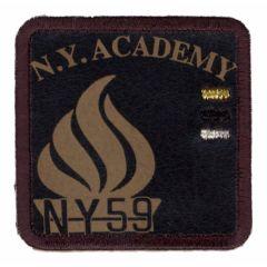 Applikation N.Y. ACADEMY braun - 5 Stück