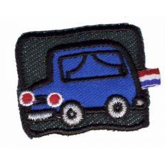Applikation Auto blau auf schwarzem Hintergrund - 5 Stück