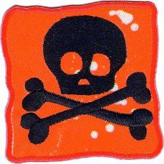 Applikation Flagge mit Totenkopf rot - 5 Stück