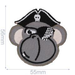 Applikation Piraten Affe grau - 5 Stück