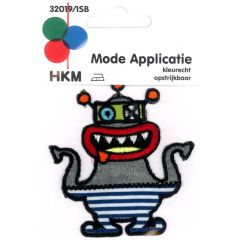 Applikation Monster mit rotem Mund - 5 Stück