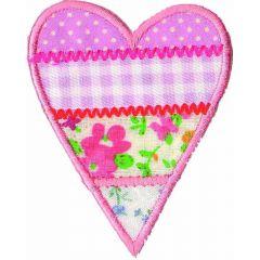 Applikation Herz bunt rosa - 5 Stück