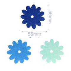Applikationen Filz 3 Blumen blau - 5 Sets