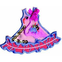Applikation Kleid mit Flamingo - 5 Stück