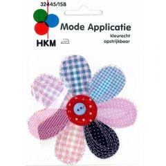 Applikation Blume groß blau-rosa mit Knopf - 5 Stück