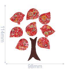 Applikation Baum mit 2 Vögel rot/weiB/blau-weiß - 5 Stück