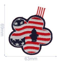 Applikation US Flagge in Blütenform - 5 Stück