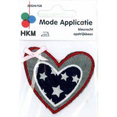 Applikation Herz US-Farben mit rosa Schleife - 5 Stück