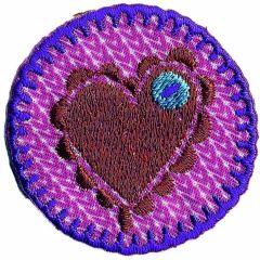 Applikation Herz auf rosa Kreis - 5 Stück