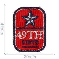 Applikation Button 49th State rot - 5 Stück