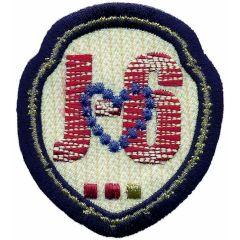 Applikation Wappen J-6 mit Herz - 5 Stück