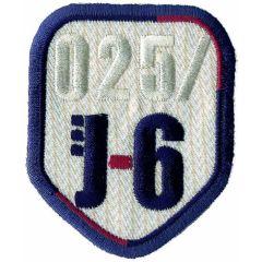Applikation Wappen J-6 weiß mit Rand - 5 Stück