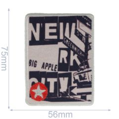 Applikation schwarz-beige mit rotem Stern - 5 Stück